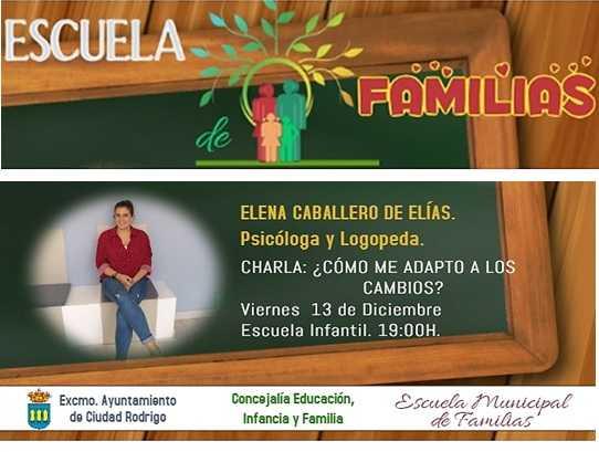 Escuela Municipal de Familias. Charla sobre cómo se adaptar los niños a los cambios.