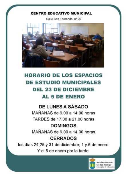 Nuevos horarios aulas municipales de estudio
