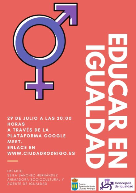 """Invitación a charla """"Educando en Igualdad"""""""