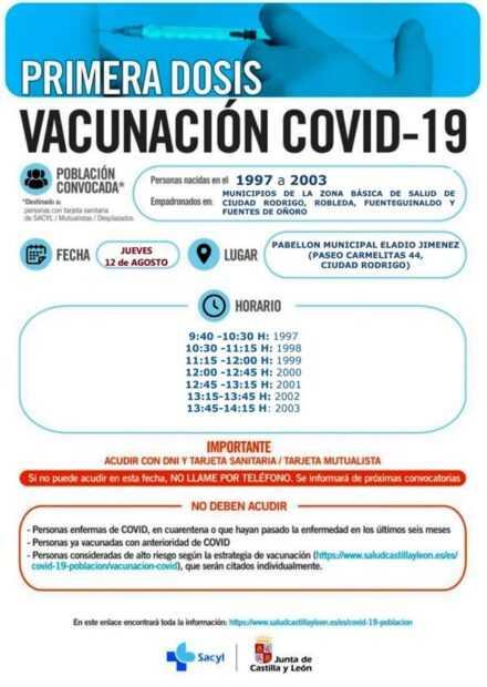 VACUNACIÓN COVID-19 (Primera Dosis) – Personas nacidas en el 1997 a 2003